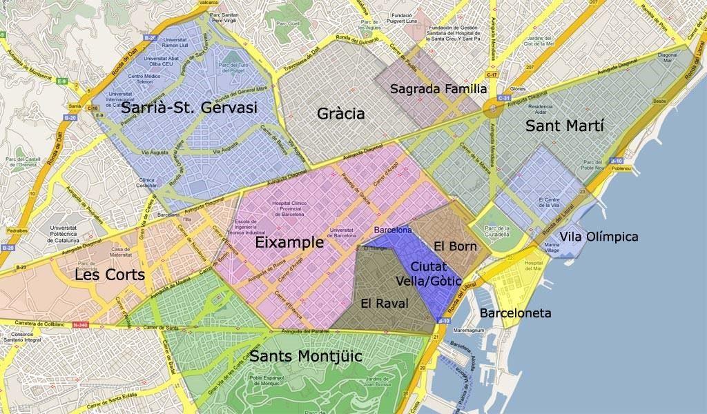 Barcelona Bölgeler Haritası - Barcelona Districts